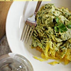 Lemon pesto with spaghetti squash