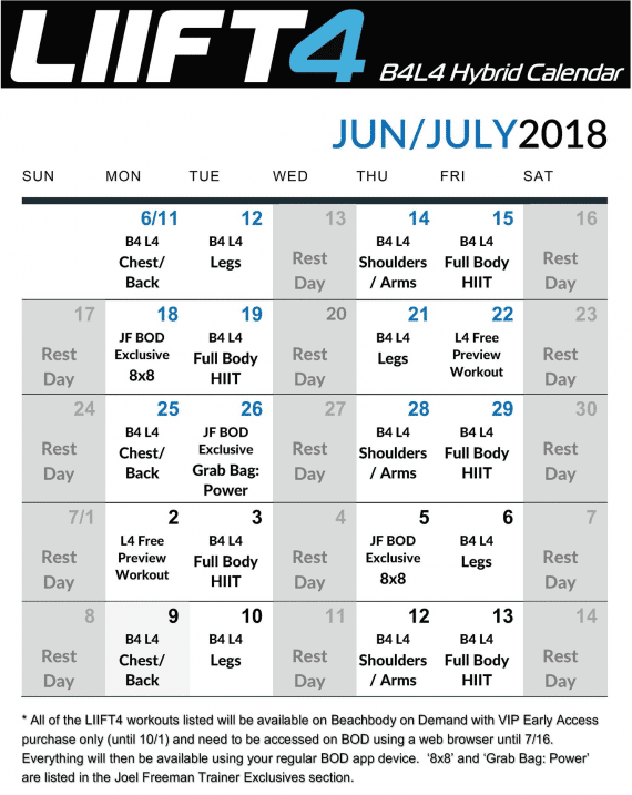 workout calendar Lift4