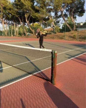 learning tennis