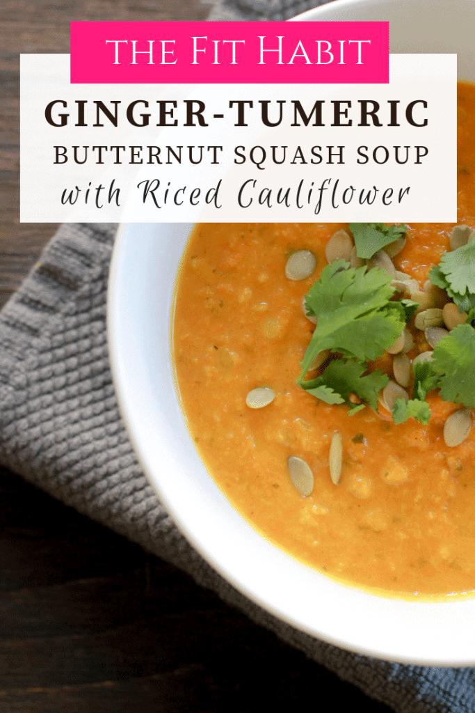 butternut squash soup with cauliflower rice