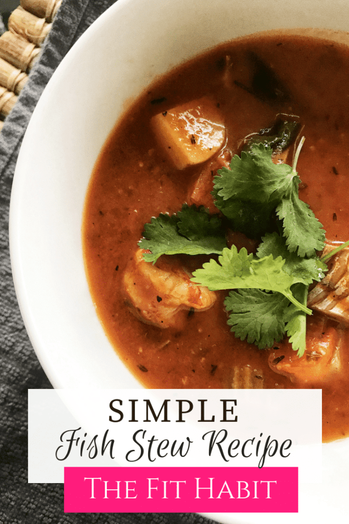An easy fish soup with simple ingredients.  Use whatever fish you have on hand.  #paleo #whole30 #lowcarb #wholefood