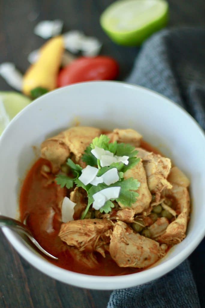 A perfect, simple, chicken masala recipe for the slow cooker or crockpot. Just add the ingredients and let it simmer for hours. Smells so good.#paleo #lowcarb #keto #NSNG